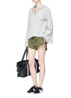The Upside'Oxford' bell sleeve lace-up hoodie