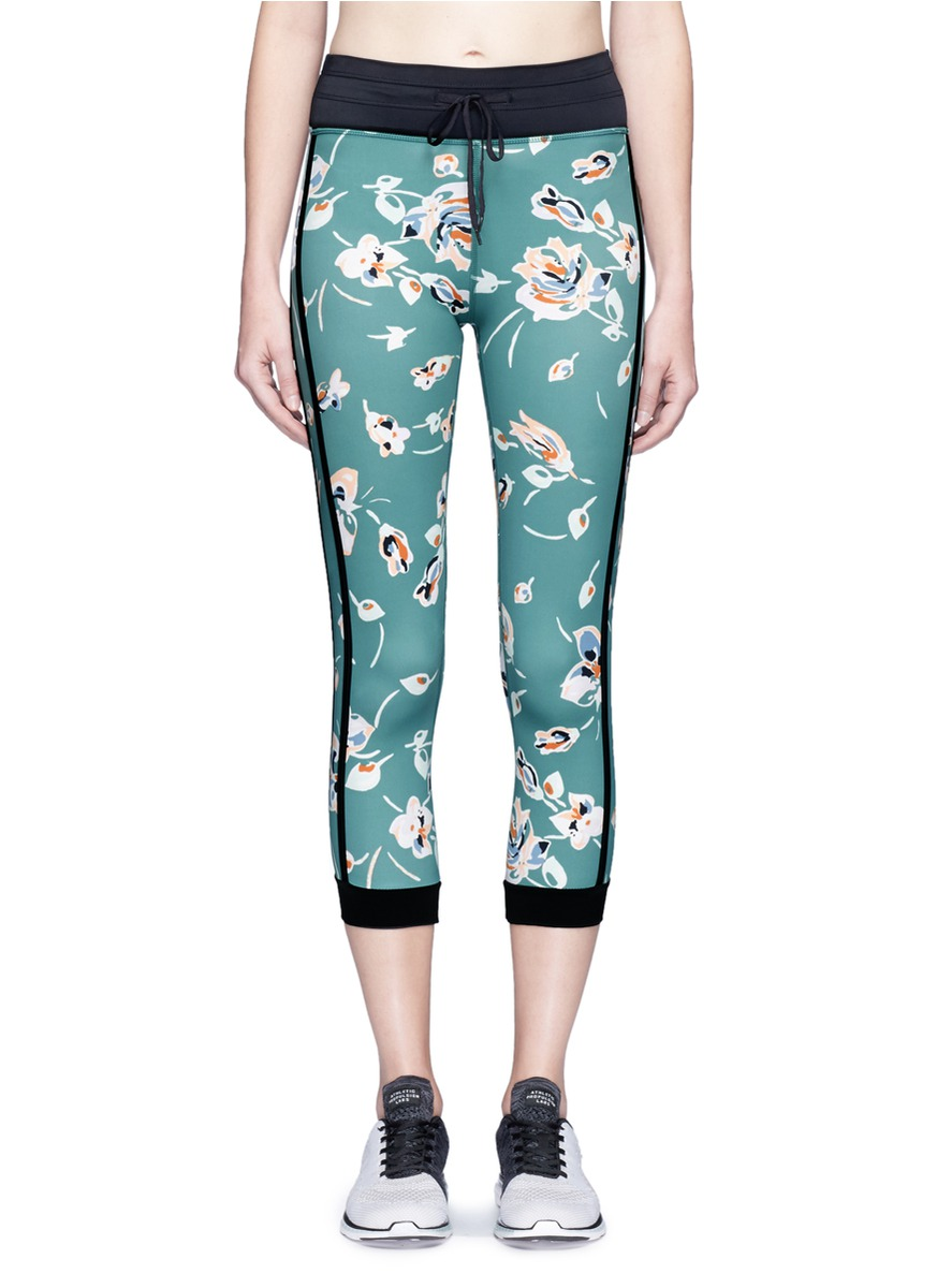 Deep Sea Floral NYC performance capri leggings by The Upside