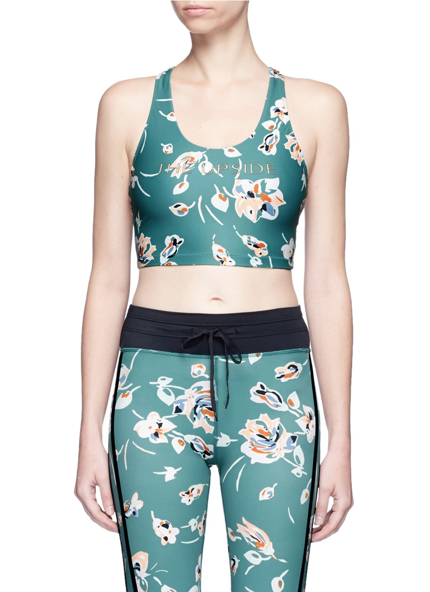 Deep Sea Floral Tahiti performance cropped tank top by The Upside