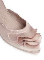 'Alia' ruffled satin slippers