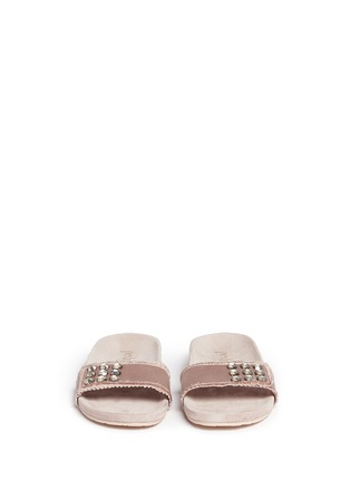 Front View - Click To Enlarge - Pedro García - 'Amelin' satin crystal slide sandals