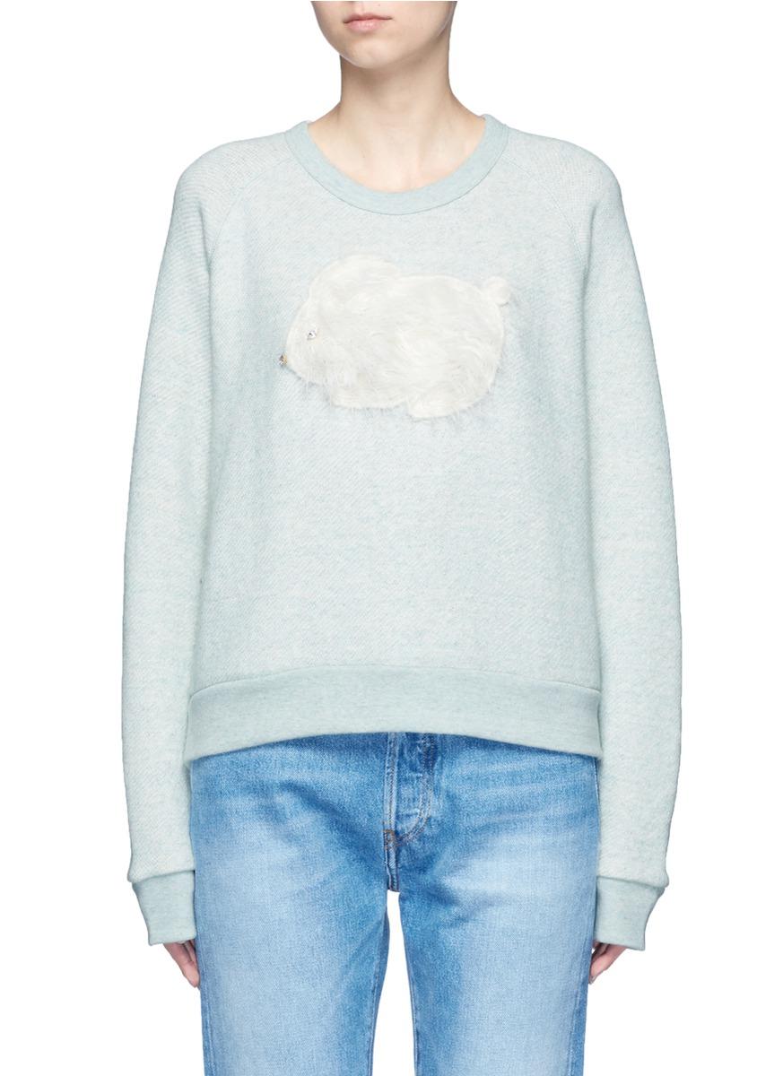 Rabbit appliqué marled cotton sweatshirt by Tu Es Mon Trésor
