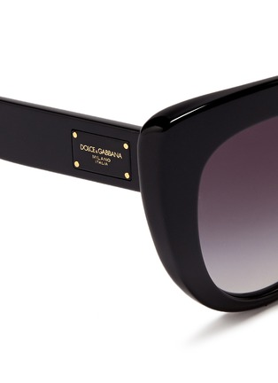 Detail View - Click To Enlarge - Dolce & Gabbana - Logo plaque acetate cat eye sunglasses