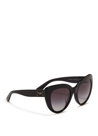 Figure View - Click To Enlarge - Dolce & Gabbana - Logo plaque acetate cat eye sunglasses