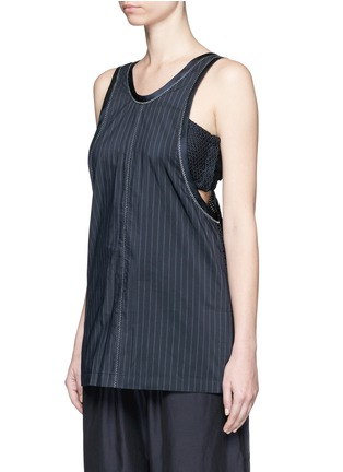 Front View - Click To Enlarge - 3.1 Phillip Lim - Knotted knit back pinstripe tank top