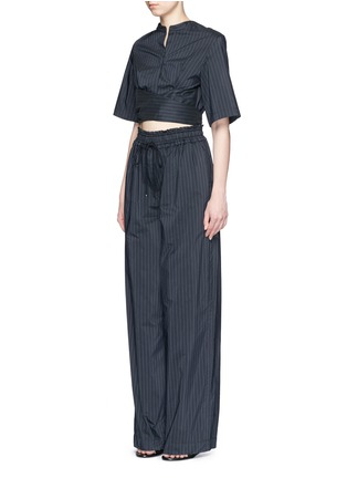 Front View - Click To Enlarge - 3.1 Phillip Lim - Paperbag sash tie pinstripe jumpsuit