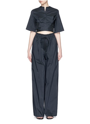 Main View - Click To Enlarge - 3.1 Phillip Lim - Paperbag sash tie pinstripe jumpsuit
