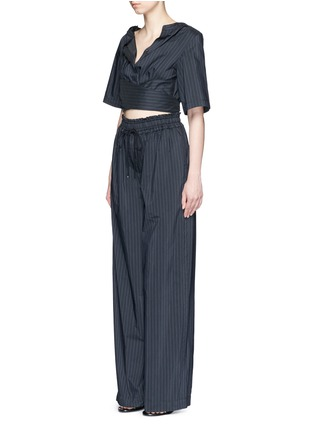 Figure View - Click To Enlarge - 3.1 Phillip Lim - Paperbag sash tie pinstripe jumpsuit
