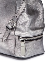 Small charm chain metallic pebbled leather backpack