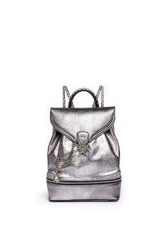ALEXANDER MCQUEENSmall charm chain metallic pebbled leather backpack