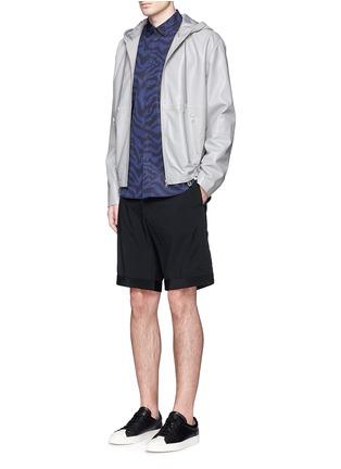Figure View - Click To Enlarge - OAMC - Petersham trim wool seersucker shorts