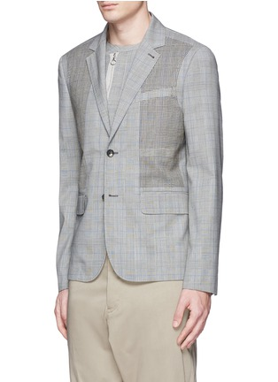 Front View - Click To Enlarge - OAMC - Lasercut panel Glen plaid virgin wool blazer