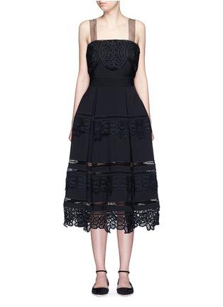 Main View - Click To Enlarge - self-portrait - Guipure lace trim bow strap dress
