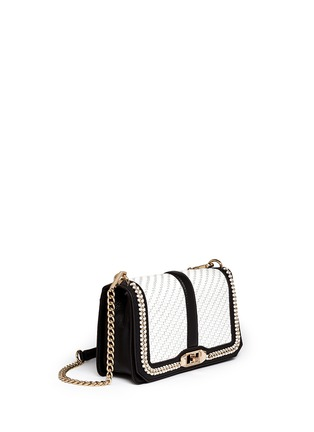 Front View - Click To Enlarge - Rebecca Minkoff - 'Love' woven flap leather crossbody bag