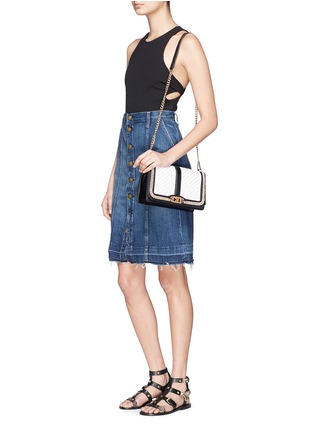 Figure View - Click To Enlarge - Rebecca Minkoff - 'Love' woven flap leather crossbody bag