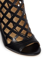 'Yvonne' cutout leather open toe caged booties