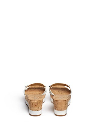 Back View - Click To Enlarge - Michael Kors - 'Warren' leather strap cork wedge sandals