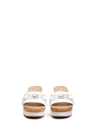 Front View - Click To Enlarge - Michael Kors - 'Warren' leather strap cork wedge sandals