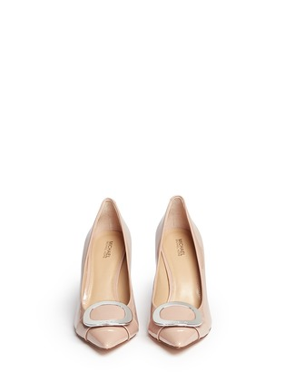 Front View - Click To Enlarge - Michael Kors - 'Pauline' logo plaque patent leather pumps