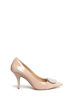Main View - Click To Enlarge - Michael Kors - 'Pauline' logo plaque patent leather pumps