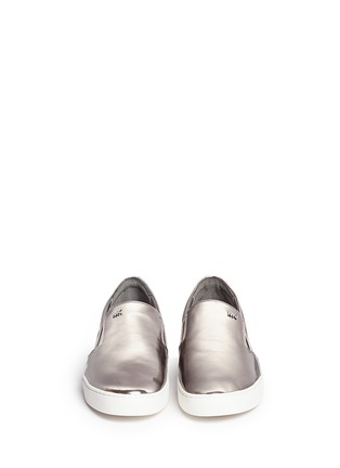 Front View - Click To Enlarge - Michael Kors - 'Keaton' mirror leather skate slip-ons