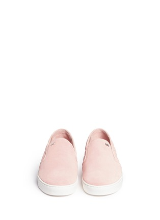 Front View - Click To Enlarge - Michael Kors - 'Keaton' quilted suede skate slip-ons
