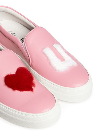 Detail View - Click To Enlarge - Joshua Sanders - x BYTE Giuliana Teso 'Pink Luv U' fur leather skate slip-ons