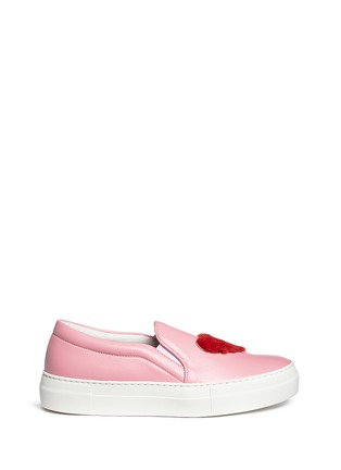 Main View - Click To Enlarge - Joshua Sanders - x BYTE Giuliana Teso 'Pink Luv U' fur leather skate slip-ons