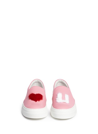Figure View - Click To Enlarge - Joshua Sanders - x BYTE Giuliana Teso 'Pink Luv U' fur leather skate slip-ons