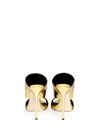 Back View - Click To Enlarge - Giuseppe Zanotti Design - 'Coline' mirror leather mule sandals