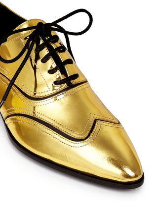 Detail View - Click To Enlarge - Giuseppe Zanotti Design - 'Guns Shooting' mirror leather wingtip Oxfords