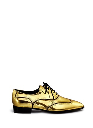 Main View - Click To Enlarge - Giuseppe Zanotti Design - 'Guns Shooting' mirror leather wingtip Oxfords
