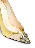 Glitter toe cutout mirror leather pumps