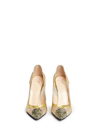 Giuseppe Zanotti Design-Glitter toe cutout mirror leather pumps