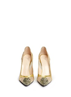 GIUSEPPE ZANOTTI DESIGN Glitter toe cutout mirror leather pumps