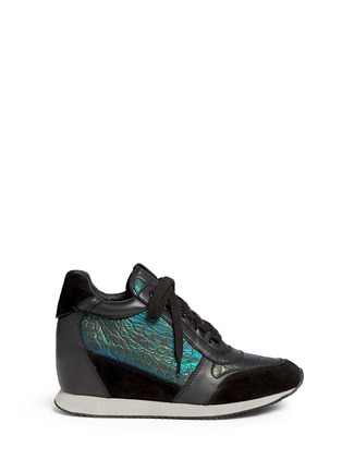 Main View - Click To Enlarge - Ash - 'Dream' holographic croc effect wedge sneakers