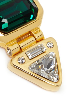 Detail View - Click To Enlarge - Kenneth Jay Lane - Glass crystal gold plated clip earrings
