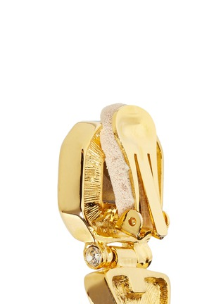 Back View - Click To Enlarge - Kenneth Jay Lane - Glass crystal gold plated clip earrings