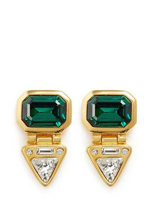 Main View - Click To Enlarge - Kenneth Jay Lane - Glass crystal gold plated clip earrings