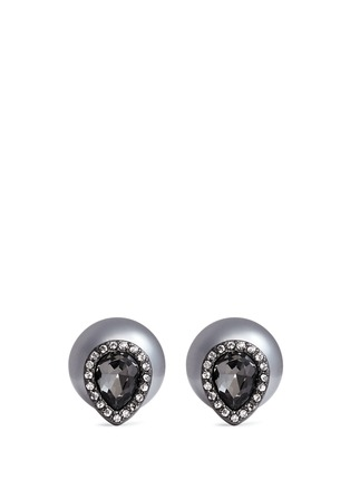 Main View - Click To Enlarge - Kenneth Jay Lane - Glass pearl back crystal stud earrings