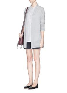 ARMANI COLLEZIONICloqué stripe virgin wool drape cardigan
