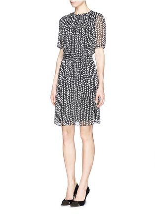 Front View - Click To Enlarge - Armani Collezioni - Mist dot print chiffon dress