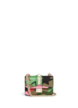 Main View - Click To Enlarge - Valentino - 'Camupsychedelic Rockstud Lock' mini leather chain bag