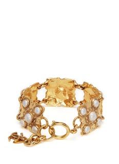 Vintage Chanel Faux pearl sqaure link bracelet