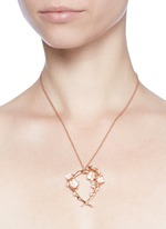 Branch hoop pendant diamond and cultured pearl necklace