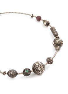 Aishwarya Diamond ruby emerald gold alloy charm necklace