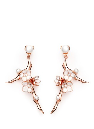 Shaun Leane - Large branch diamond and cultured pearl drop earrings