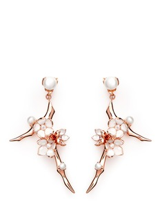 SHAUN LEANELarge branch diamond and cultured pearl drop earrings