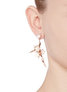 Shaun Leane Large branch diamond and cultured pearl drop earrings