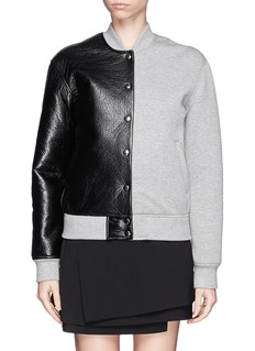 T BY ALEXANDER WANG Leather and bonded jersey varsity jacket